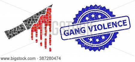 Vector Collage Bloody Knife, And Gang Violence Corroded Rosette Seal Imitation. Blue Seal Has Gang V