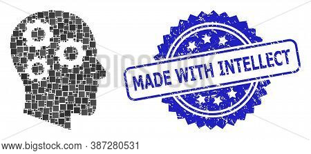 Vector Collage Brain Gears, And Made With Intellect Scratched Rosette Stamp Seal. Blue Seal Has Made