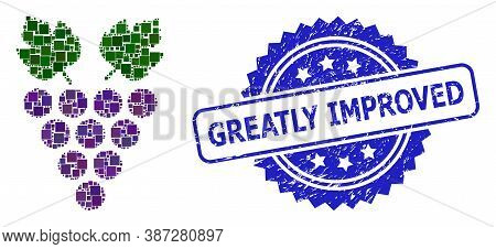 Vector Mosaic Grape, And Greatly Improved Grunge Rosette Stamp. Blue Stamp Has Greatly Improved Titl