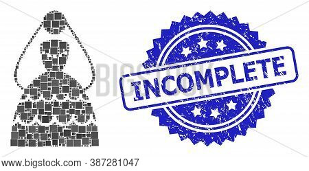 Vector Collage Bride, And Incomplete Scratched Rosette Seal Imitation. Blue Seal Contains Incomplete