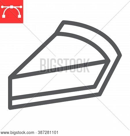 Cheesecake Line Icon, Dessert And Cake, Piece Of Cheesecake Sign Vector Graphics, Editable Stroke Li