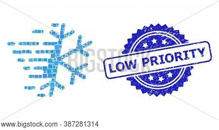 Vector Mosaic Frost Snowflake, And Low Priority Dirty Rosette Stamp Seal. Blue Stamp Seal Has Low Pr