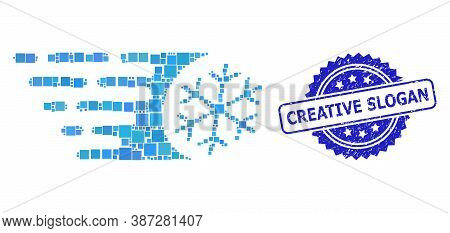 Vector Mosaic Fast Freezing, And Creative Slogan Dirty Rosette Stamp Seal. Blue Stamp Seal Contains