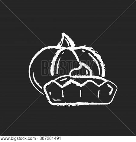 Pumpkin Tartlet Chalk White Icon On Black Background. Delicious Gourd Tart, Sweet Pie. Seasonal Bake
