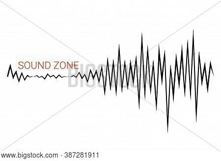 Black Pulse Music Player. Audio Wave Logo. Sound Equalizer Element. Vector Cardiac Heart Pulse Banne