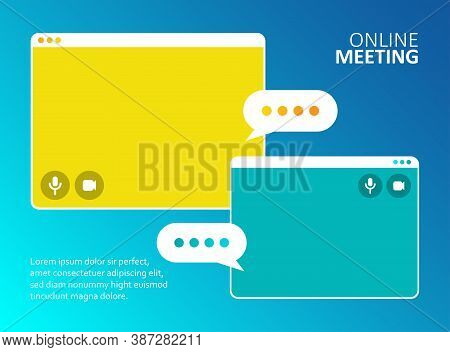 Video Call Business Meeting Business. Remote Work. Online Webinar