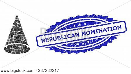 Vector Collage Cone Figure, And Republican Nomination Grunge Rosette Stamp. Blue Stamp Contains Repu