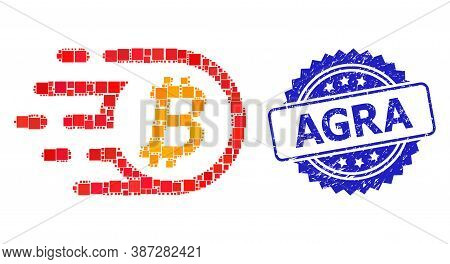Vector Collage Bitcoin, And Agra Textured Rosette Stamp Seal. Blue Stamp Contains Agra Tag Inside Ro