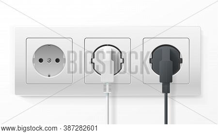 Realistic Detailed 3d Plugs Inserted In Electrical Outlet Set Isolated On A White Background. Vector