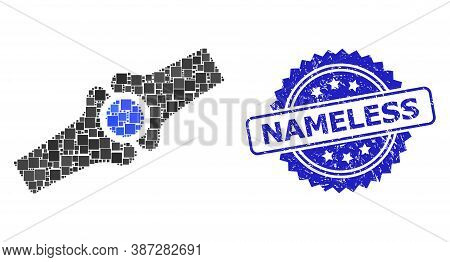 Vector Mosaic Artificial Bone Joint, And Nameless Grunge Rosette Stamp Seal. Blue Stamp Seal Has Nam