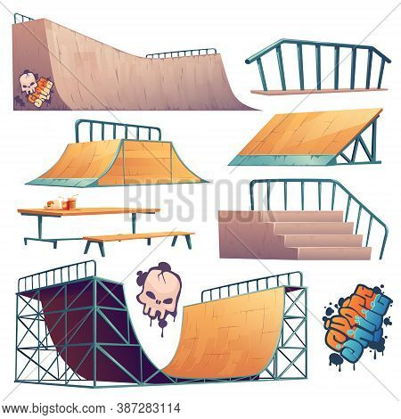 Skate Park Or Rollerdrome Constructions For Skateboard Jumping Stunts, Graffiti And Furniture. Quart