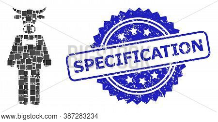 Vector Mosaic Bull Gentleman, And Specification Rubber Rosette Seal Imitation. Blue Stamp Seal Conta