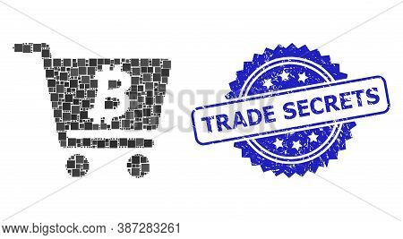 Vector Mosaic Bitcoin Webshop, And Trade Secrets Textured Rosette Stamp Seal. Blue Stamp Has Trade S