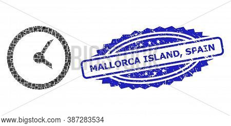 Vector Mosaic Clock, And Mallorca Island, Spain Scratched Rosette Seal. Blue Seal Contains Mallorca