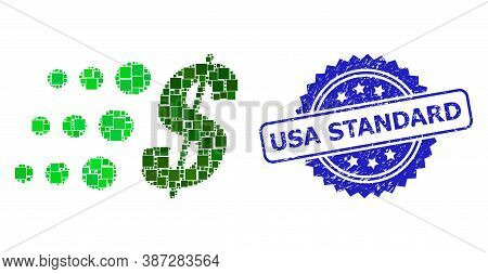 Vector Mosaic Fast Dollar, And Usa Standard Scratched Rosette Seal. Blue Seal Contains Usa Standard