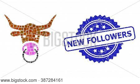 Vector Collage Bull Head, And New Followers Grunge Rosette Stamp Seal. Blue Stamp Seal Has New Follo