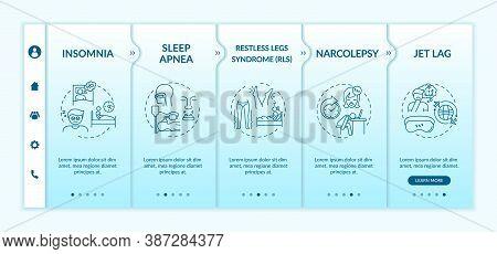Insomnia Onboarding Vector Template. Sleep Disorder. Healthcare Problem. Jet Lag. Sleep Apnea. Respo