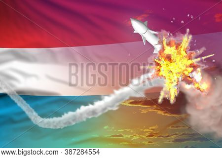 Luxembourg Intercepted Nuclear Warhead, Modern Antirocket Destroys Enemy Missile Concept, Military I