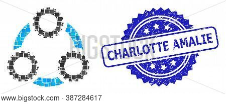 Vector Collage Gear Planetary Transmission, And Charlotte Amalie Textured Rosette Seal. Blue Stamp S
