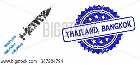 Vector Collage Express Vaccine, And Thailand, Bangkok Unclean Rosette Stamp Seal. Blue Stamp Contain