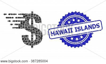 Vector Collage Dollar, And Hawaii Islands Scratched Rosette Seal. Blue Stamp Seal Includes Hawaii Is