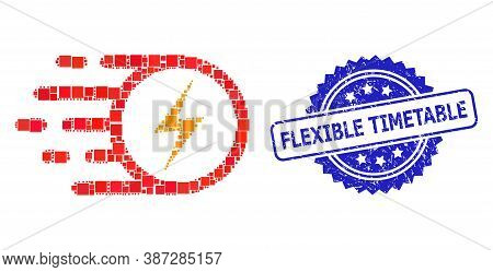 Vector Mosaic Electric Spark, And Flexible Timetable Corroded Rosette Stamp. Blue Stamp Includes Fle
