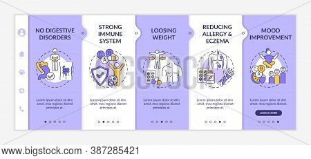 Probiotics Usefulness Onboarding Vector Template. No Digestive Disorders, Reducing Allergy And Eczem