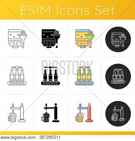 Beer Production Icons Set. Mashing Step For Brewing Process. Factory Manufacture. Bottled Ale On Con