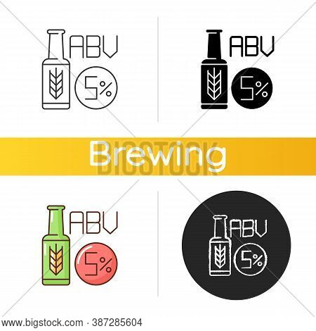 Alcohol By Volume Icon. Alcoholic Beverage. Beer In Bottle. Lager And Ale. Draught Stout From Bar. A