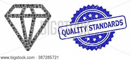 Vector Collage Diamond, And Quality Standards Rubber Rosette Stamp Seal. Blue Seal Has Quality Stand