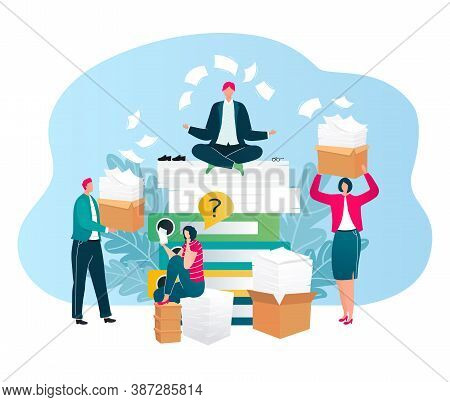 Businessmen Ask Auditing, Questions, Finance Consulting For Business Isolated Vector Illustration. P