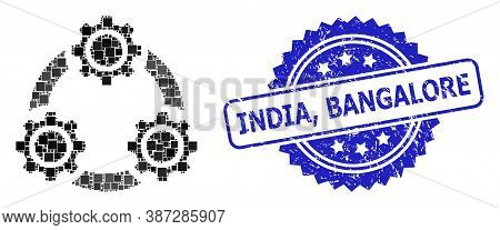 Vector Collage Gear Planetary Transmission, And India, Bangalore Scratched Rosette Stamp Seal. Blue