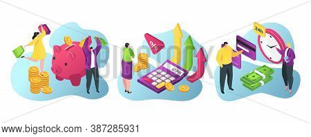 Bank Services For Business And Finance Flat Vector Illustration. Piggy Bank Savings, Credits And Inv