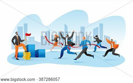 Business Marathone Race, Businesspeople Race On Track Flat Vector Illustration. Competition In Team,
