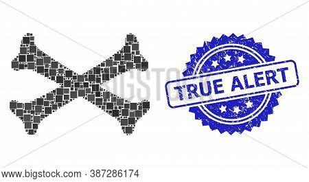 Vector Collage Crossing Bones, And True Alert Grunge Rosette Stamp. Blue Stamp Contains True Alert C