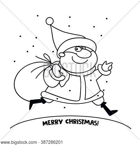 Funny Santa Claus Character With A Bag Of Gifts. For Christmas Cards, Banners, Tags And Labels. Cont
