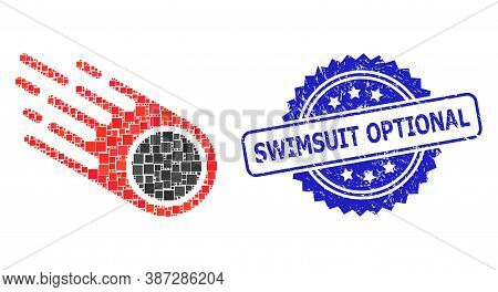 Vector Mosaic Falling Meteorite, And Swimsuit Optional Rubber Rosette Seal Print. Blue Stamp Seal Ha