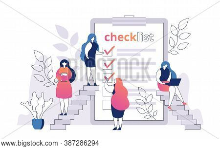 Woman With Checklist On Paper Sheet Vector Illustration. Shopping List. Template For Product Purchas