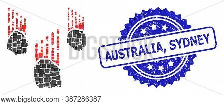 Vector Collage Falling Rocks, And Australia, Sydney Corroded Rosette Seal. Blue Stamp Seal Includes