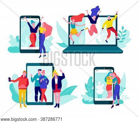 Online Communication Via The Internet, Social Networking, Chat, Video Messages Set Of Vector Illustr