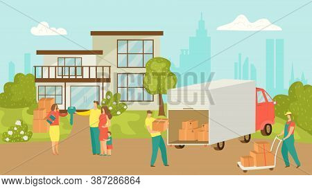 People Moving House Vector Illustration Of Happy Family Moving House And Taking Boxes Into Truck. Ne