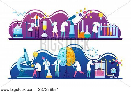 Scientists Discovery Research In Chemistry, Biology Or Medicine Vector Illustration. Brain Science R