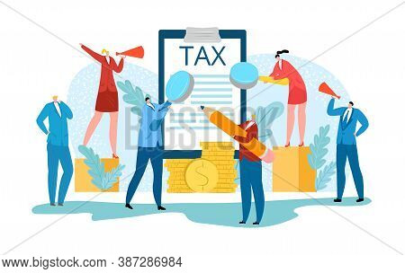 Taxes Financial Audit, Accounting Business Vector Illustration. Tax Forms Under Magnifying Glass Rev