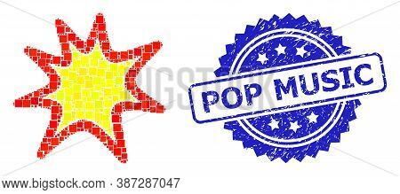Vector Mosaic Exploding Boom, And Pop Music Scratched Rosette Stamp. Blue Stamp Seal Contains Pop Mu