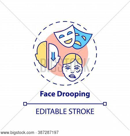 Face Drooping Concept Icon. Facial Weakness. Problem From Disorder. Neurology Diagnosis. Brain Healt