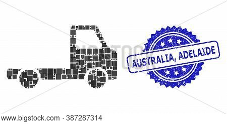 Vector Collage Delivery Car Chassi, And Australia, Adelaide Dirty Rosette Seal Print. Blue Stamp Sea