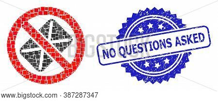 Vector Collage Censored Mail, And No Questions Asked Grunge Rosette Stamp. Blue Stamp Seal Contains
