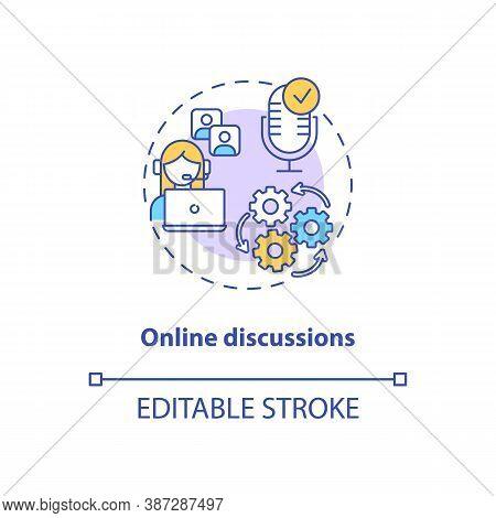 Online Discussions Concept Icon. App Feature Idea Thin Line Illustration. Communication App. Virtual