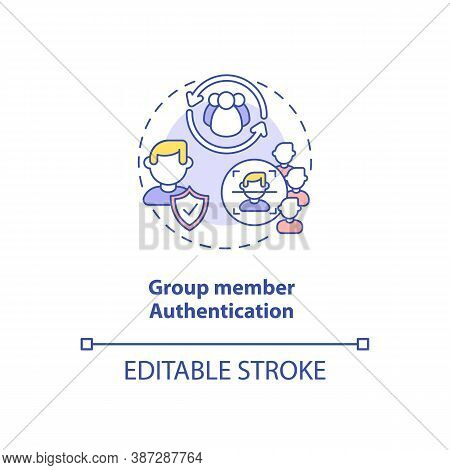 Group Member Authentication Concept Icon. Security Parameter Idea Thin Line Illustration. Everyone G