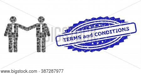 Vector Mosaic Businessmen Relations, And Terms And Conditions Corroded Rosette Stamp Seal. Blue Stam